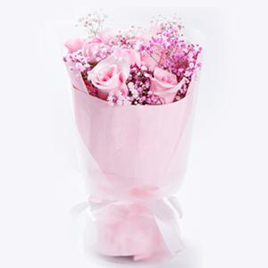 鲜花/公主醉: 9枝精品戴安娜粉玫瑰(如遇缺货时期,可用粉玫瑰