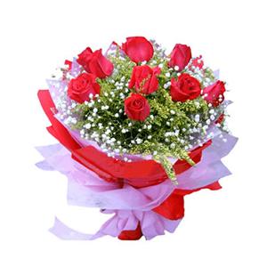 鲜花/相伴一生: 9支红玫瑰  [包 装]:红色、粉色皱纹纸包