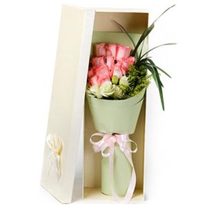 鲜花/比翼双飞: 11枝粉色玫瑰  [包 装]:高档礼盒包装,