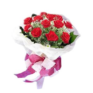 鲜花/生日祝福: 靓丽红色玫瑰12枝  [包 装]:淡紫色绵纸