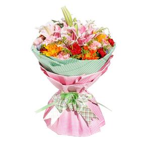 鲜花/温情时刻: 5枝粉色多头香水百合,10枝粉色康乃馨,8枝红