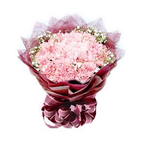鲜花/眷恋妈妈:33枝粉色康乃馨 [包 装]:深红色棉纸内衬,