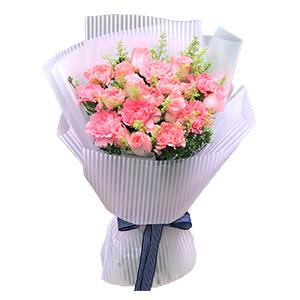 鲜花/简单的爱: 9支粉色康乃馨,9支粉色玫瑰,黄莺满、天星辅材