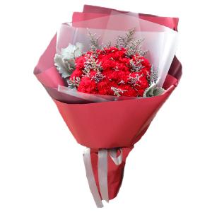 鲜花/幸福报道: 19枝红色康乃馨  [包 装]:高档韩式包装