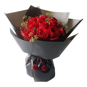 鲜花/绝代佳人: 16支红玫瑰精美韩式包装  [包 装]:灰黑