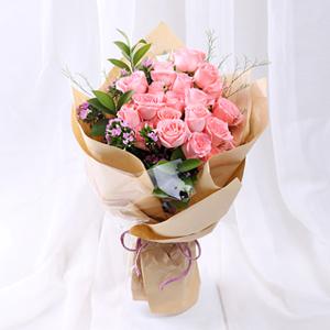 鲜花/萌翻少女心: 19枝精品粉玫瑰  [包 装]:精美包装,赠