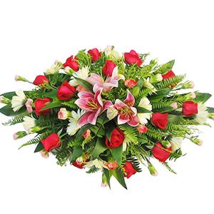 商业用花/十全十美: 粉色香水百合,红玫瑰,粉色多头康乃馨,白色太阳