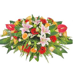 商业用花/高朋满座:红掌,粉色香水百合,红色太阳花,香槟玫瑰,粉色多