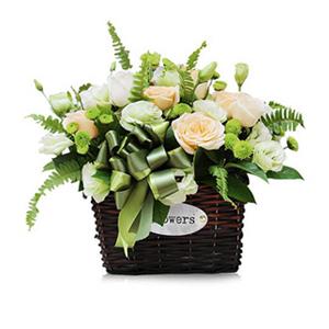 鲜花/健康快乐: 9朵香槟玫瑰,9朵白色玫瑰  [包 装]:精