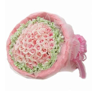 鲜花/做我的新娘: 99支戴安娜粉玫瑰  [包 装]:外围一圈高