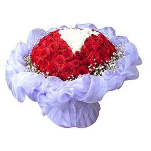 鲜花/柏拉图之恋: 50枝红玫瑰,16枝白玫瑰  [包 装]:淡