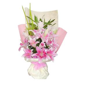 鲜花/勇敢爱:粉色香水百合10只 [包 装]:浅色和粉色皱纹