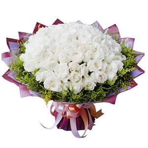 鲜花/真心爱你: 66枝白玫瑰  [包 装]:印花皱纹纸圆形精