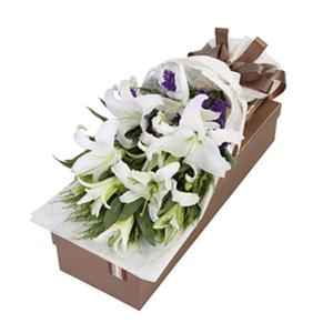 鲜花/香水百合: 匠心设计,9朵香水百合  [包 装]:高档礼
