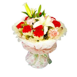 鲜花/深情祝福:9枝红康,6枝粉康单独包装,1枝白百合 [包