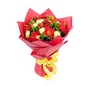 鲜花/遥寄相思: 红色扶郎9枝、黄色康乃馨9枝 [包 装]:红