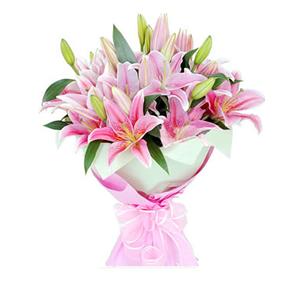 鲜花/幸福约定 :9枝粉色多头香水百合 [包 装]:内层浅绿色手