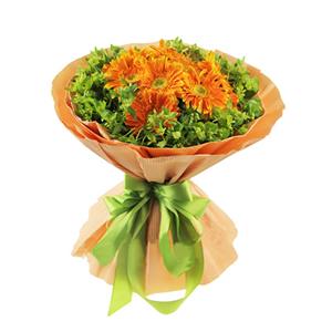 鲜花/生命之树: 11枝橘色扶郎  [包 装]:浅橙色瓦楞纸多
