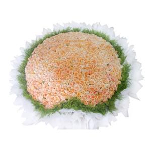 鲜花/不了情: 999枝深香槟玫瑰  [包 装]:心形花盘