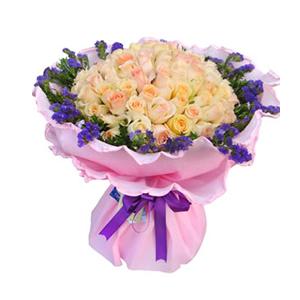鲜花/悄然绽放: 66枝香槟玫瑰  [包 装]:粉色卷边纸精美