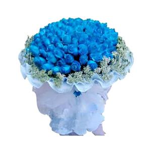 鲜花/我们恋爱吧: 99枝蓝色妖姬  [包 装]:淡蓝色卷边纸圆