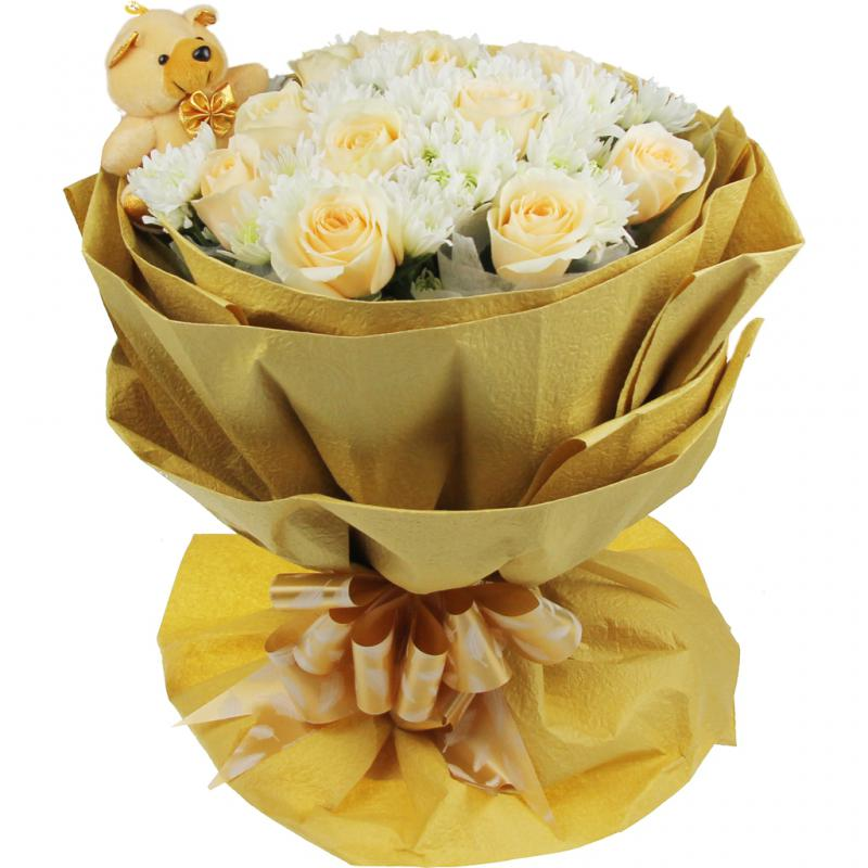 鲜花/午后阳光: 11支香槟玫瑰  [包 装]:黄色皱纹纸,圆