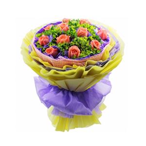 鲜花/因为爱情/豪华包装: 11枝粉玫瑰单独包装  [包 装]:淡粉色麻