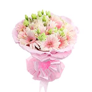 鲜花/门前小溪:20支粉色太阳花 [包 装]:粉色卷边纸圆形精
