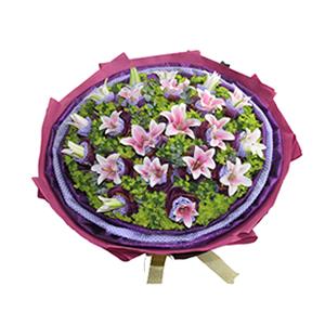 鲜花/爱的祝福: 19朵粉百合,蓝色斑点棉纸,深紫色纱网双层独立