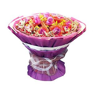 鲜花/幸福无双: 11枝紫玫瑰红色纱网单独包装  [包 装]: