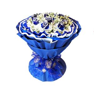 鲜花/今生今世: 11枝蓝色妖姬白色纱网单独包装  [包 装]