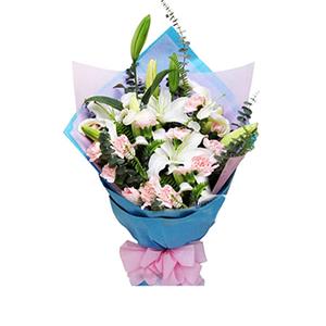 鲜花/最美祝福: 16枝粉色康乃馨,3枝白色多头香水百合  [