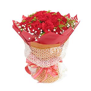 鲜花/阳光的问候: 50枝红色康乃馨  [包 装]:红色手揉纸圆