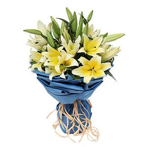 鲜花/珍惜你: 9枝多头黄色香水百合  [包 装]:蓝色手揉