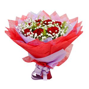 鲜花/唯爱一生: 9枝红玫瑰  [包 装]:紫色、红色棉纸包装