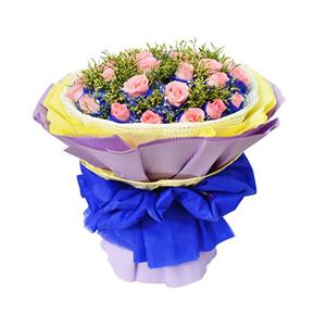 鲜花/一路向前: 29枝粉玫瑰独立包装  [包 装]:蓝色学点