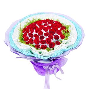 鲜花/将爱情进行到底: 66枝红玫瑰独立包装  [包 装]:多层白色