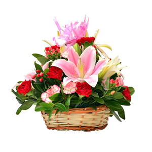 鲜花/母爱深情: 2枝粉百合,2枝白百合,10枝红色康乃馨,12