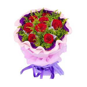 鲜花/相伴到永远: 8枝红玫瑰独立包装  [包 装]:浅紫色学点
