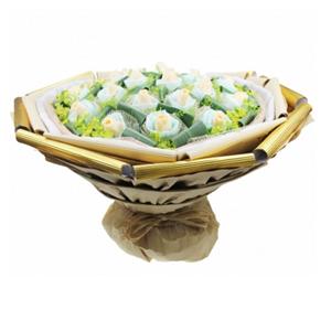 鲜花/只为你倾心: 20枝香槟玫瑰独立包装  [包 装]:浅蓝色