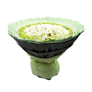 鲜花/纯棉爱情: 99枝白玫瑰  [包 装]:绿色麻席内衬,银