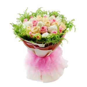 鲜花/完美幸福: 粉色、白色、香槟色三色玫瑰各11枝  [包