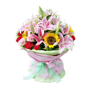 鲜花/放你在心底: 6枝向日葵,9枝红色康乃馨,3枝粉色康乃馨,1