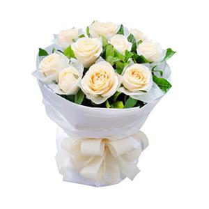 鲜花/课桌上的秘密: 11枝香槟玫瑰单独包装。  [包 装]:白色