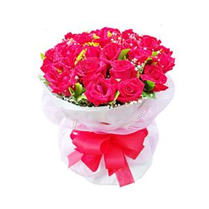 鲜花/夏夜晚风: 33枝红玫瑰。  [包 装]:白色瓦楞纸包装