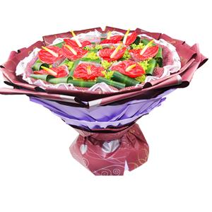 鲜花/大展宏图: 10枝红掌独立包装  [包 装]:砖红色网纱