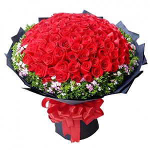 鲜花/浓情爱恋: 66朵红玫瑰,相思梅,叶上黄金点缀  [包