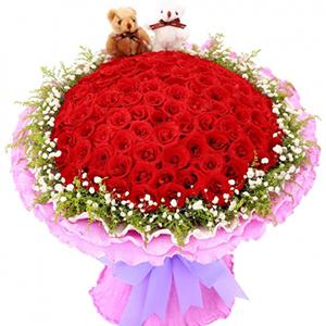 鲜花/浪漫无限: 99朵红玫瑰,黄莺,满天星丰满围边,2只小熊