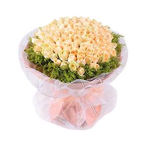 鲜花/我只在乎你: 99枝香槟玫瑰  [包 装]:高档白色网纱、