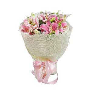 鲜花/爱入佳境: 6枝粉色多头香水百合  [包 装]:粉色瓦楞